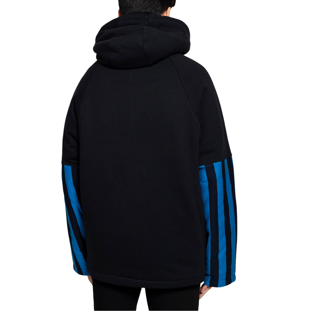 Martine Rose Split Wadded Hoodie, Black/Blue
