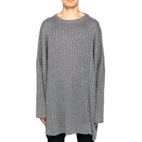 Raf Simons Lurex Oversized Sweater W/ Two Collars, Silver
