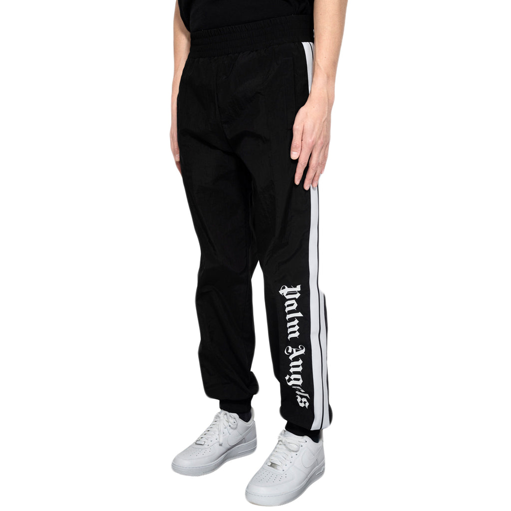 Palm Angels Over Logo Track Pants, Black/White