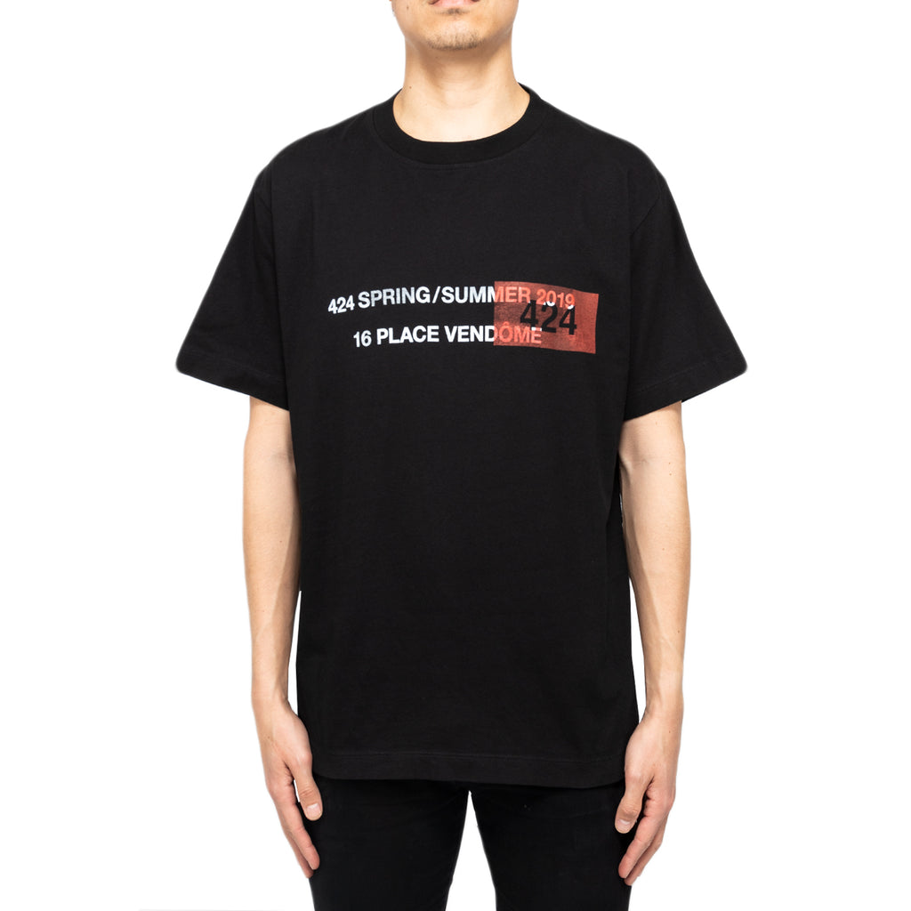424 SS19 S/S Essential Tee W/ Placed Print, Black