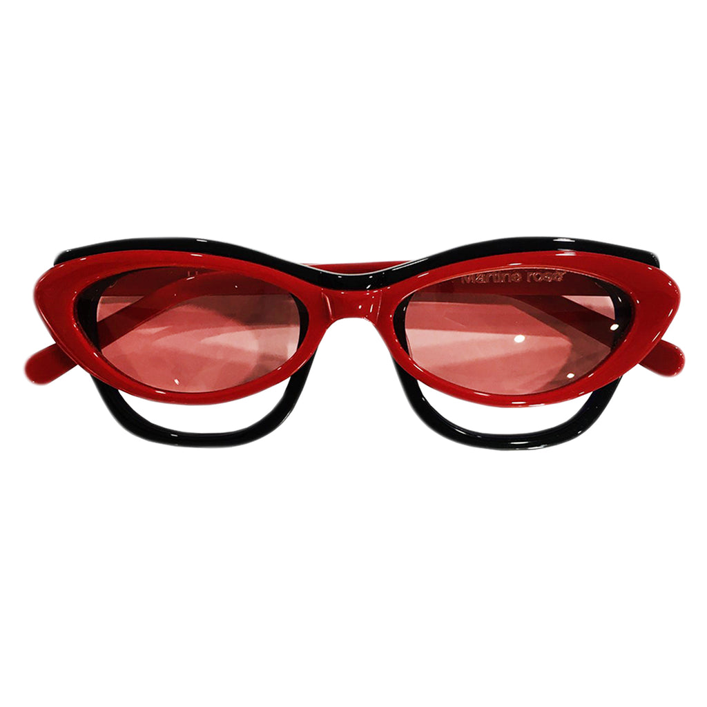 Martine Rose SS20 Double Frame Cat-Eye Hepburn Glasses, Red/Black