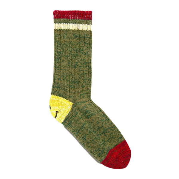 Kapital FW20 72 Yarns Wool IVY Smilie Socks, Green
