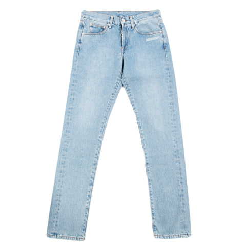 Off-White F20 Diag Pocket Slim Jeans, Bleach/White