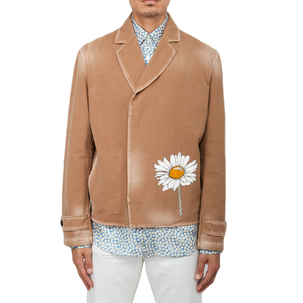 Lanvin FW19 Marguerite Print Double Breasted Jacket, Camel