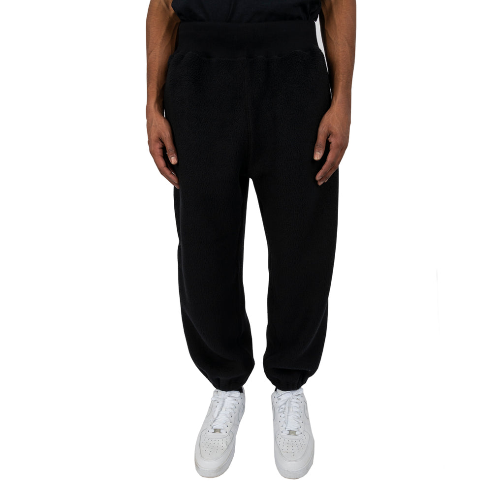 Undercover FW19 Fleece Embroidered Pants, Black