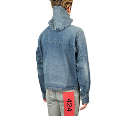 424 Cropped Denim Parka (Blue)