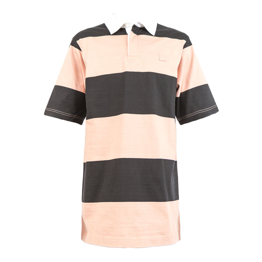 Acne Nael Bi Face Rugby Shirt (Black/Pale Pink)