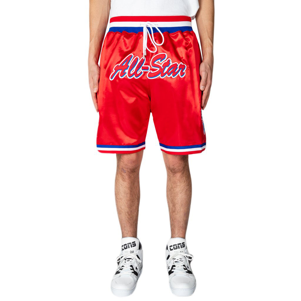 Just Don 91 All Star West Satin Shorts, Red