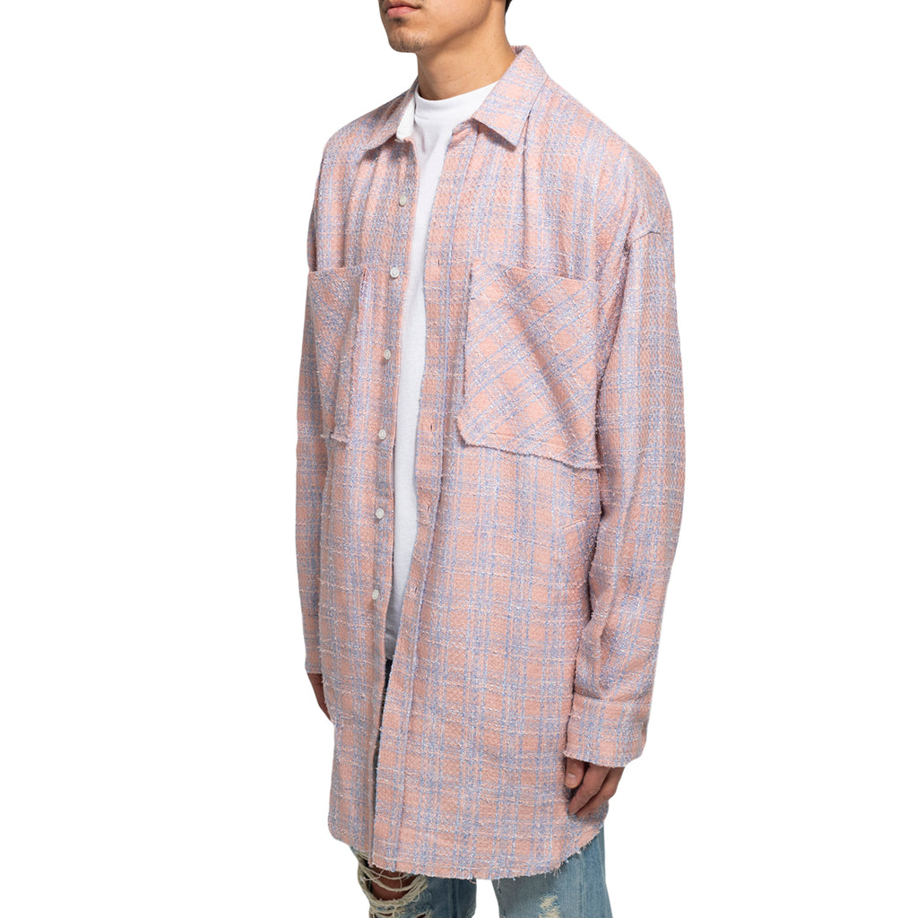 Faith Connexion SS19 Tweed Overshirt, Pink