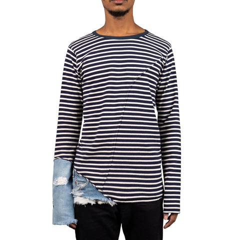 Greg Lauren Stripe Mixed Media Slim Fit Tee