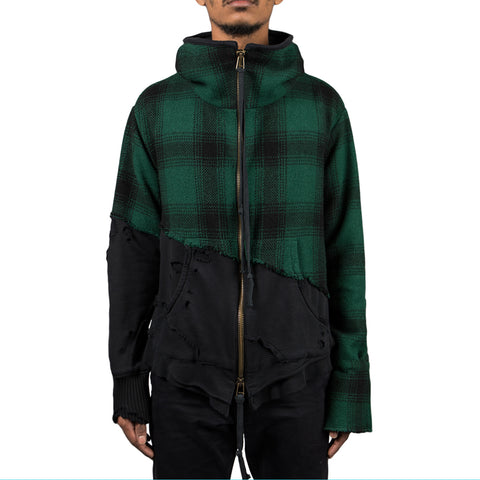 Greg Lauren Fleece High Tech Hooded Track Jacket