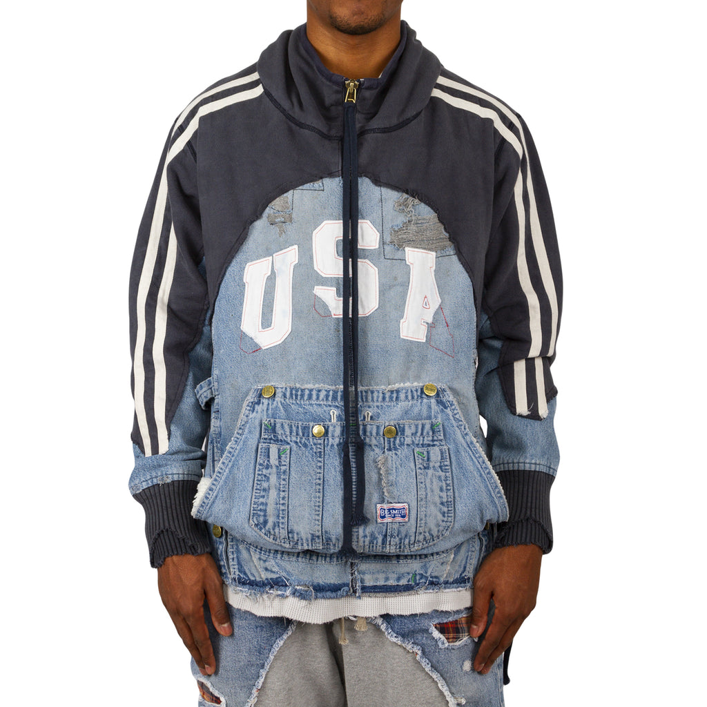 Greg Lauren SS19 Usa Hi Tech Hoodie, Navy/Denim Blue