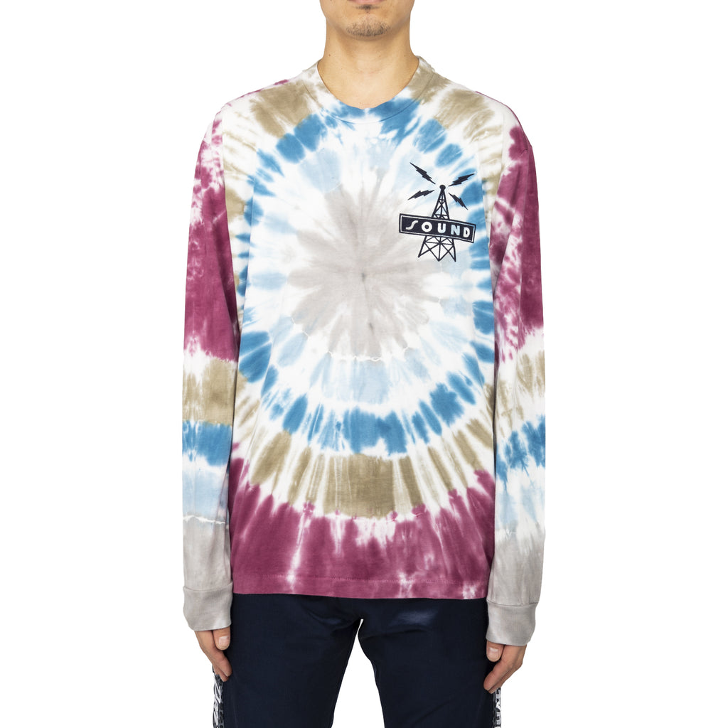 Just Don Record Row Tie Dye L/S Crew Tee, Red