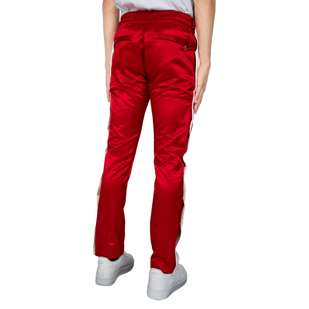 Just Don Satin Tearaway Pant, Red