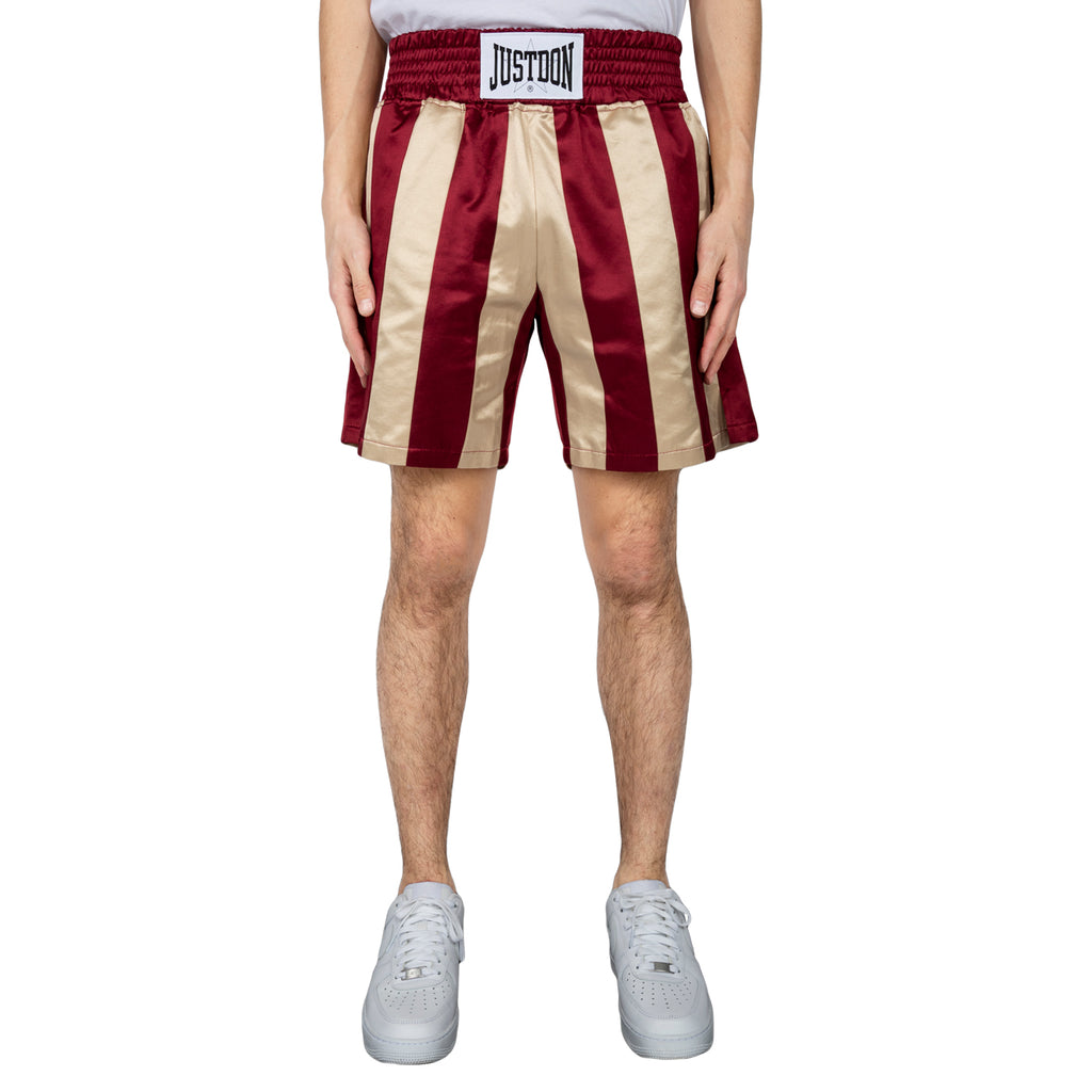 Just Don Striped Boxing Short, Burgundy