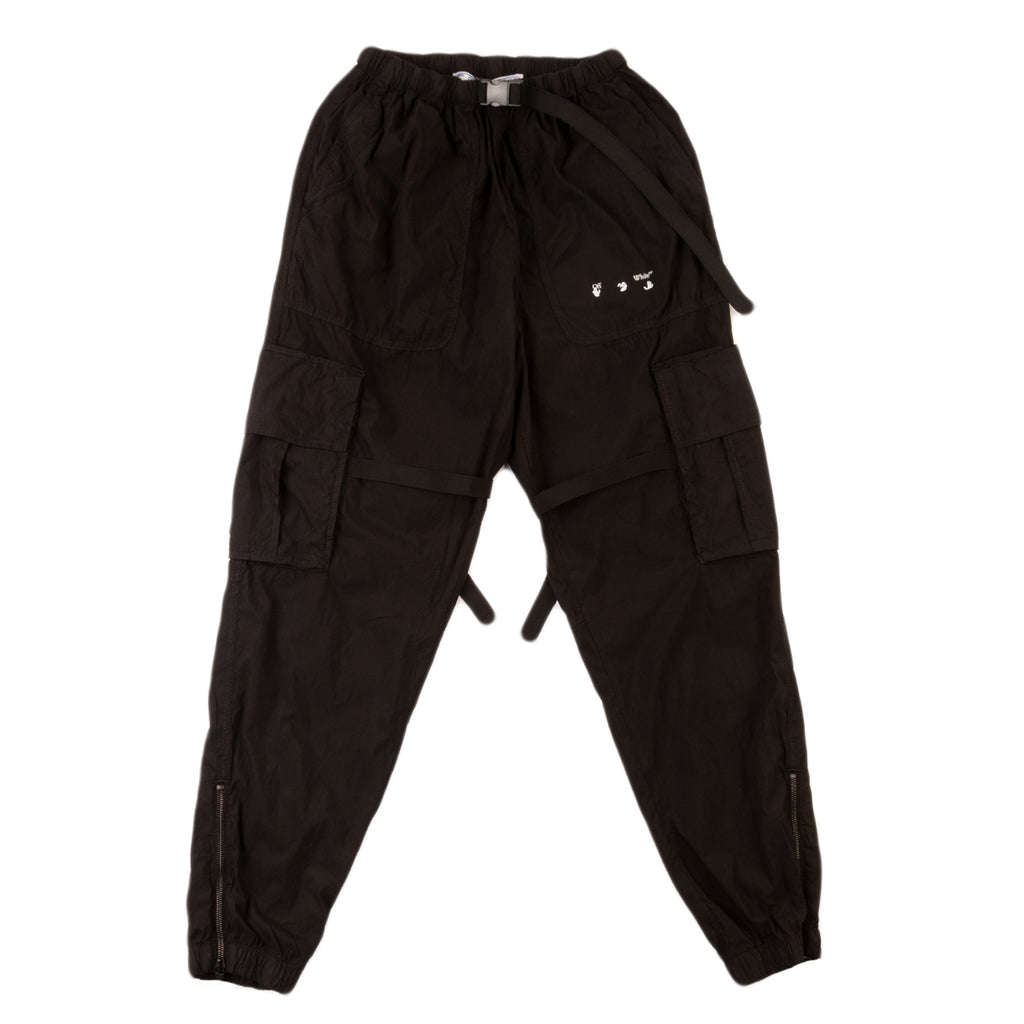 Off-White PS21 OW Logo Cotton Cargo Pant, Black/White
