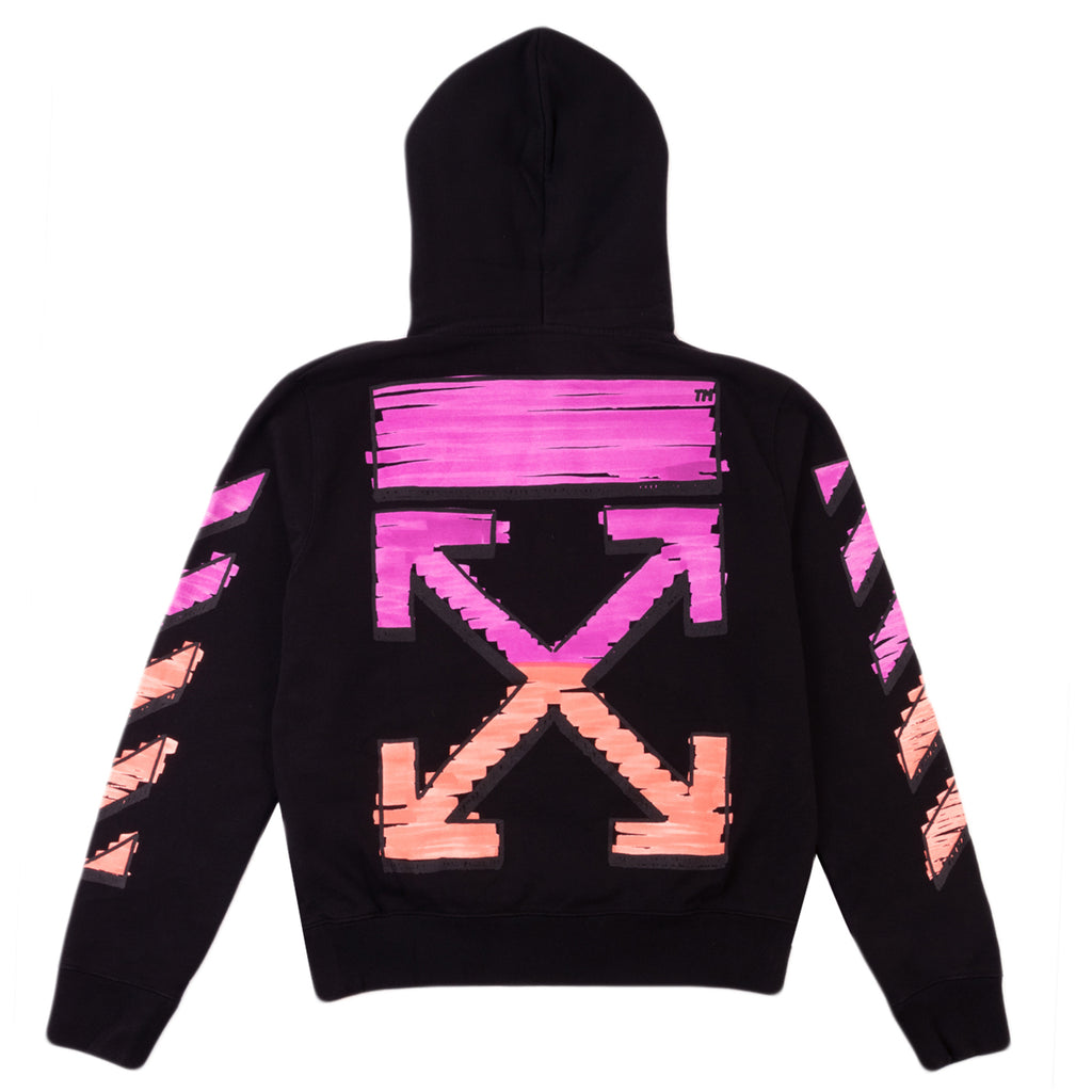 Off-White PS21 Marker Slim Hoodie, Black/Fuchsia
