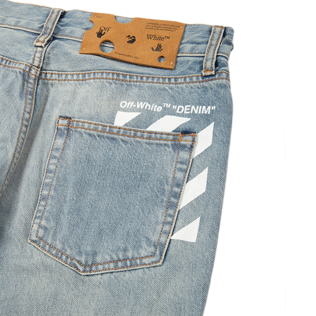Off-White SS21 Diag Pocket Skinny Jeans, Vintage Light Blue/White