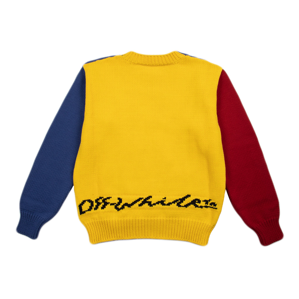 Off-White SS21 Snake Chunky Knit Crewneck, Multi/Red