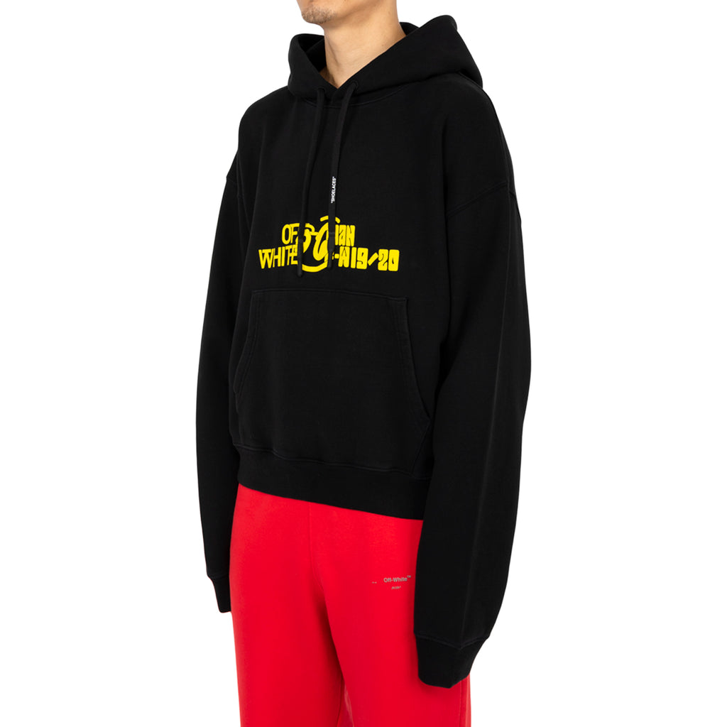 Off-White PF19 Halftone Over Hoodie, Black/Yellow