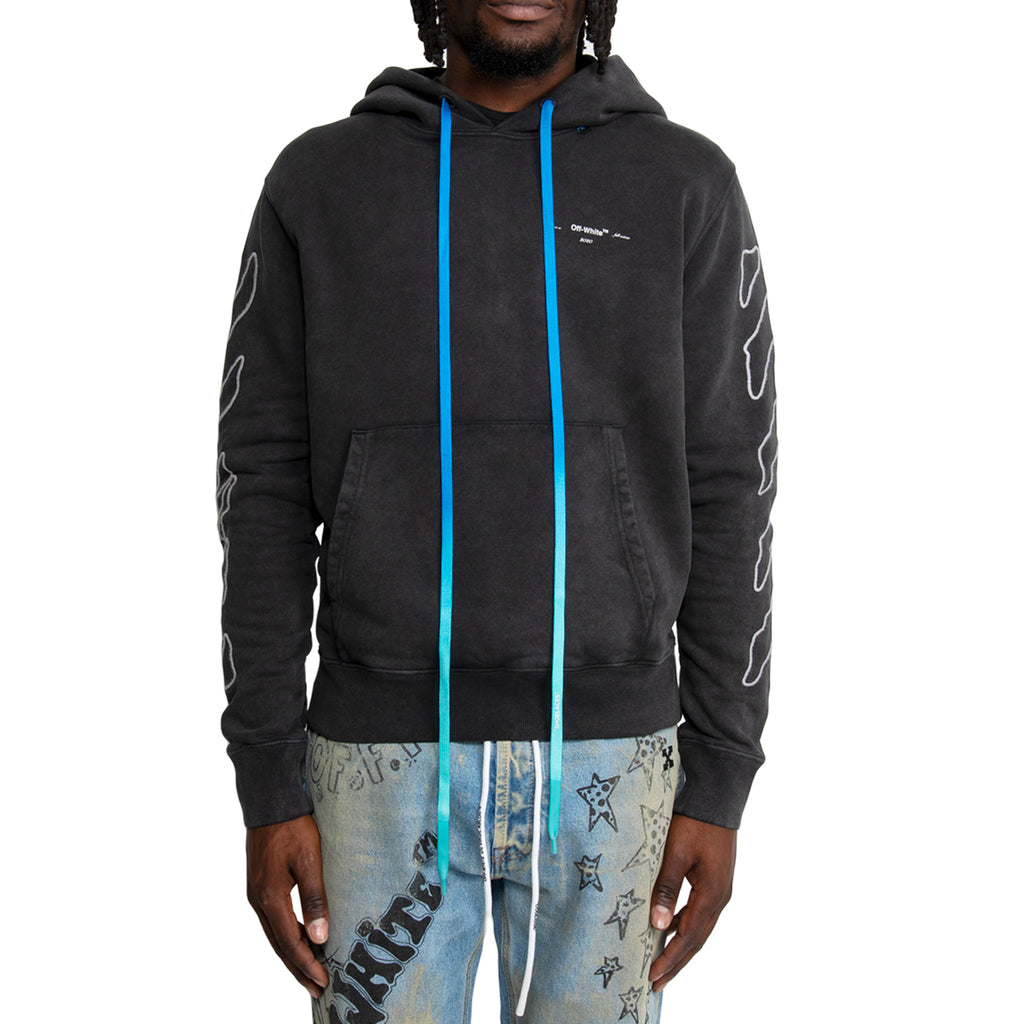 Off-White FW19 Abstract Arrows Slim Hoodie, Black/White