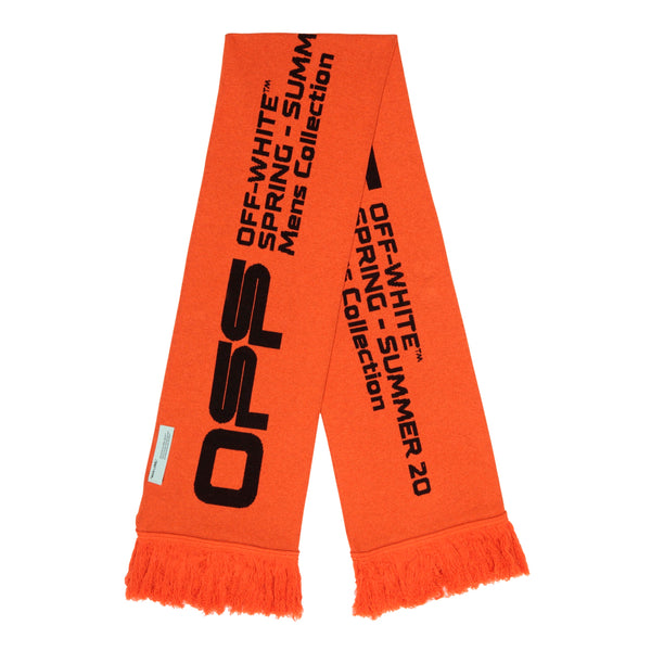Off-White PS20 Wavy Line Logo Scarf, Orange/Black