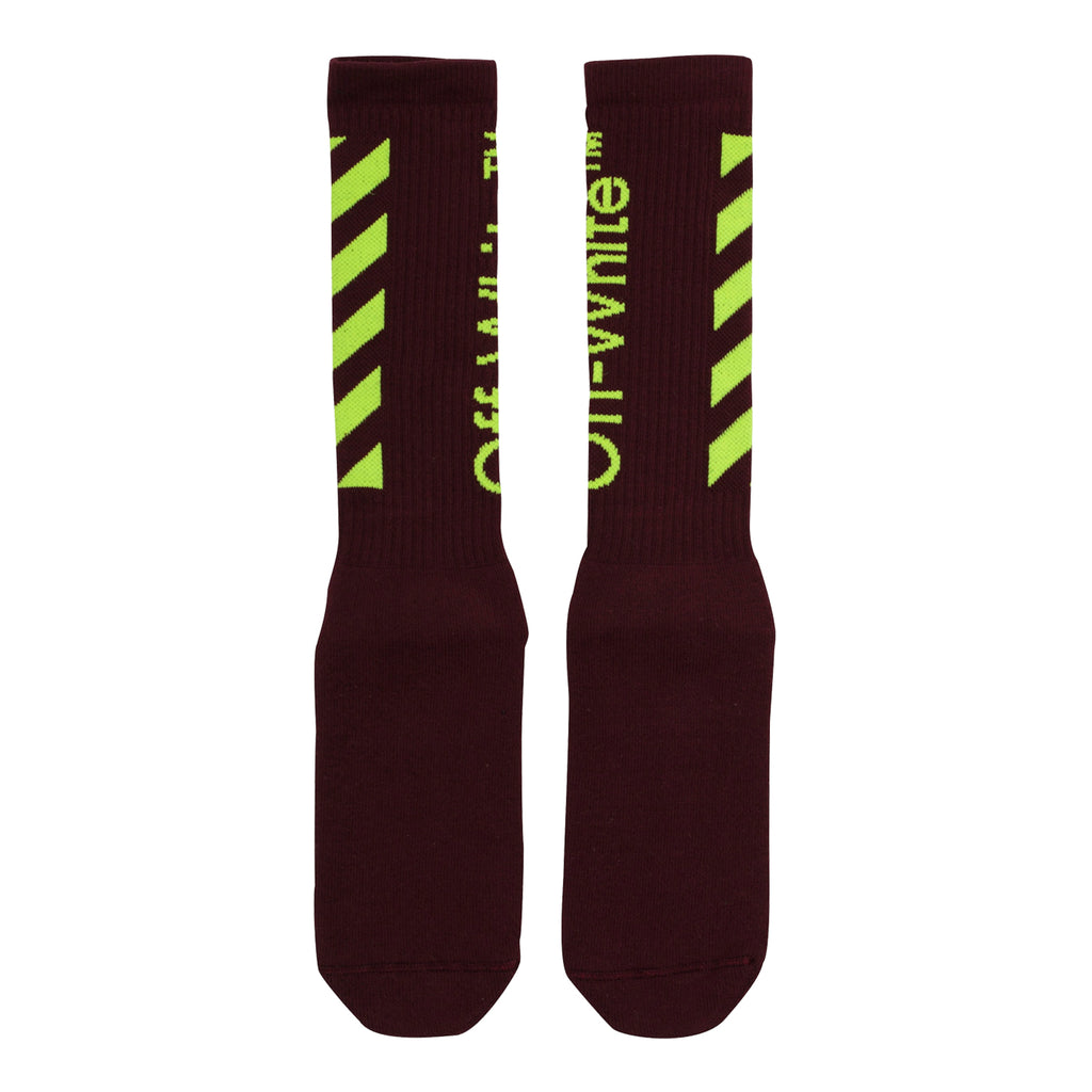 Off-White PS20 Diag Mid Length Socks, Bordeaux/Fluo Yellow