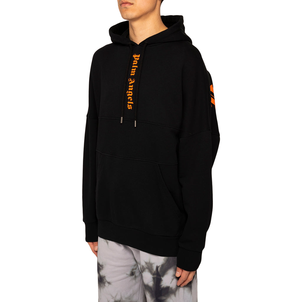 Palm Angels 3 Colors Logo Over Hoody, Black/Prison Orange