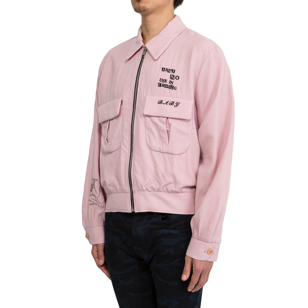 "Enfants Riches Deprimes ""AIN'T NO USE IN CRYING BABY"" WOOL GABARDINE JACKET (Pink)"