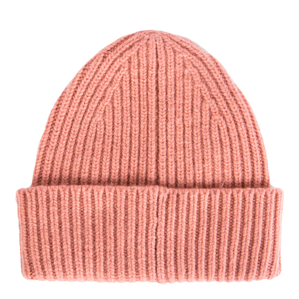 Acne Pansy Face Ribbed Beanie (Pale Pink)