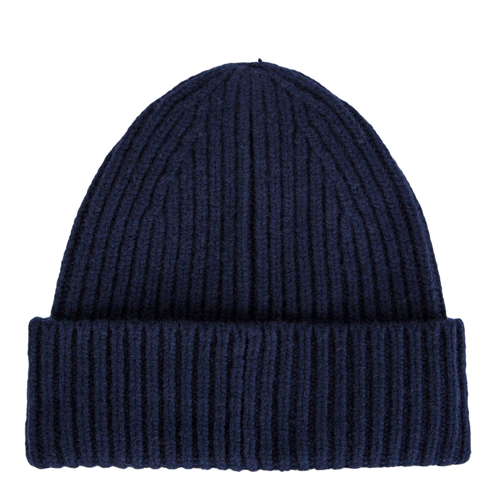 Acne Pansy Face Ribbed Beanie (Navy)