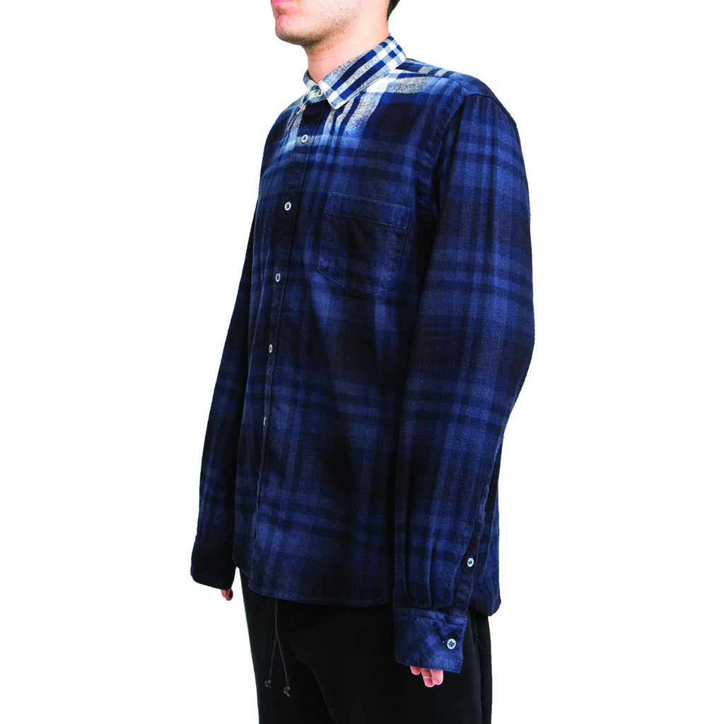 Sacai Flannel Plaid Shirt (Navy/Off White)