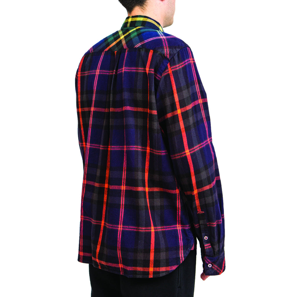 Sacai Flannel Plaid Shirt (Navy/Orange)