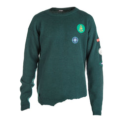 Raf Simons Rib Knit Sweater with Badges (Green)