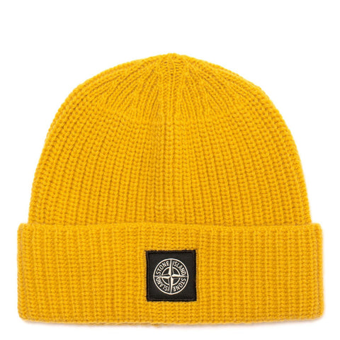 Stone Island Knit Ribbed Beanie, Yellow