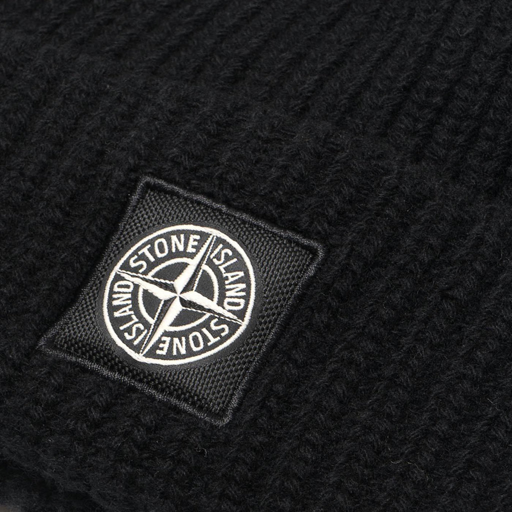 Stone Island Knit Ribbed Beanie, Black