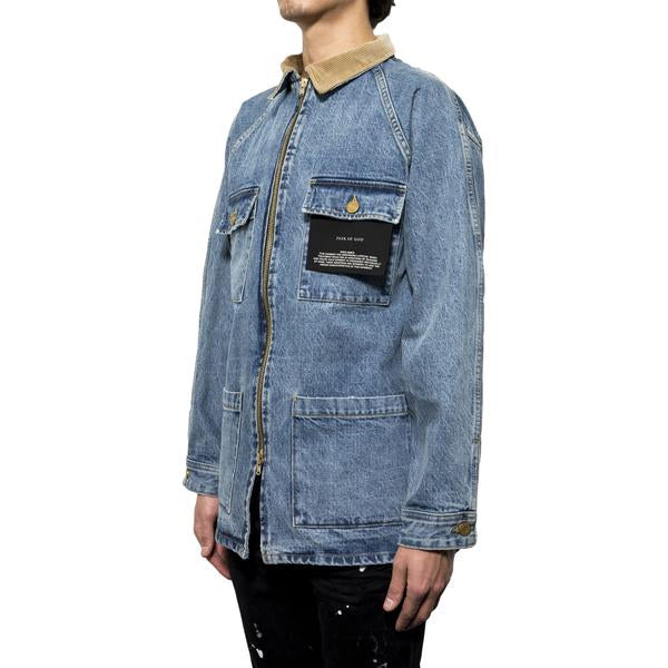 Fear Of God Selvedge Denim Long Trucker Jacket (Vintage Indigo)