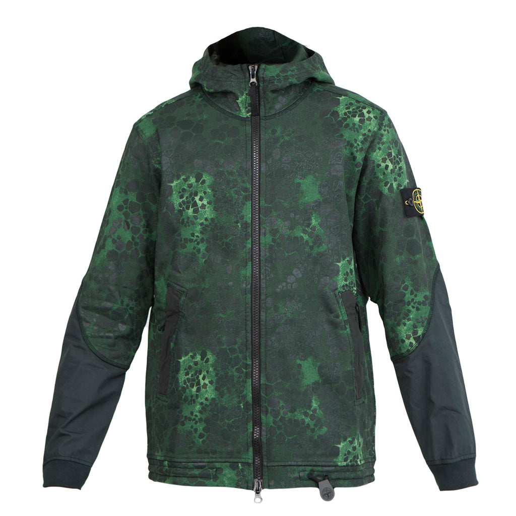Stone Island 635E4  Hooded Zip-Up Sweatshirt (Green)