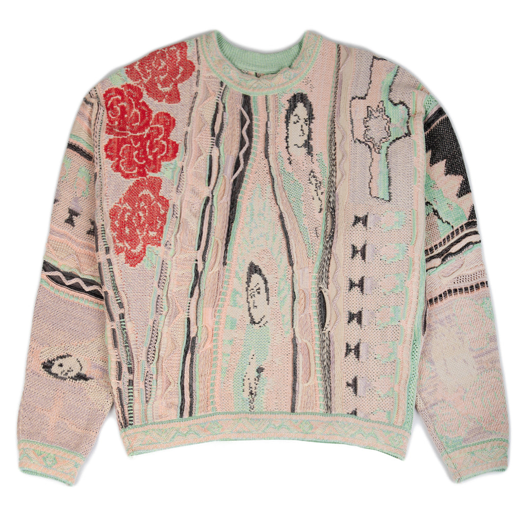 Kapital SS21 7G Knit VIRGIN MARY GAUDY Crew Sweater, Light Pink