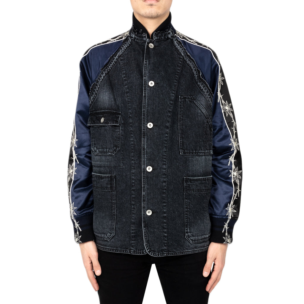 Sacai Dr. Woo Denim x Stadium Jacket, Black/Navy