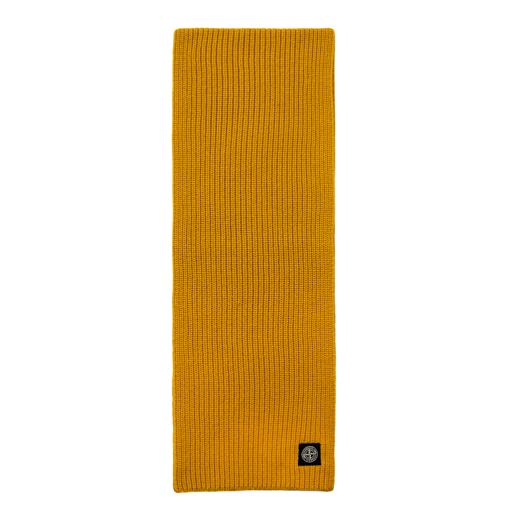 Stone Island Ribbed Knit Scarf, Yellow