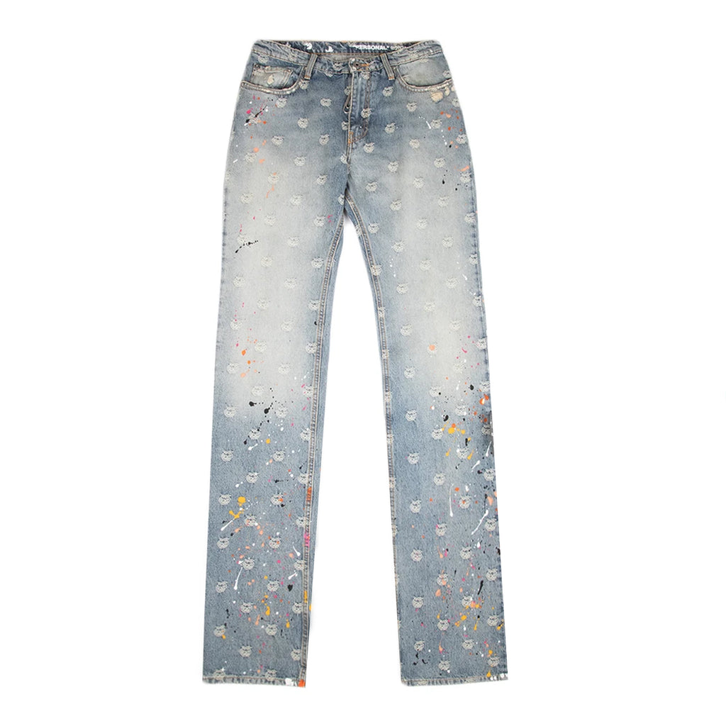 Off-White SS21 Apple Paint Skinny Stack Jean Jaquard Denim + Paint, Multi