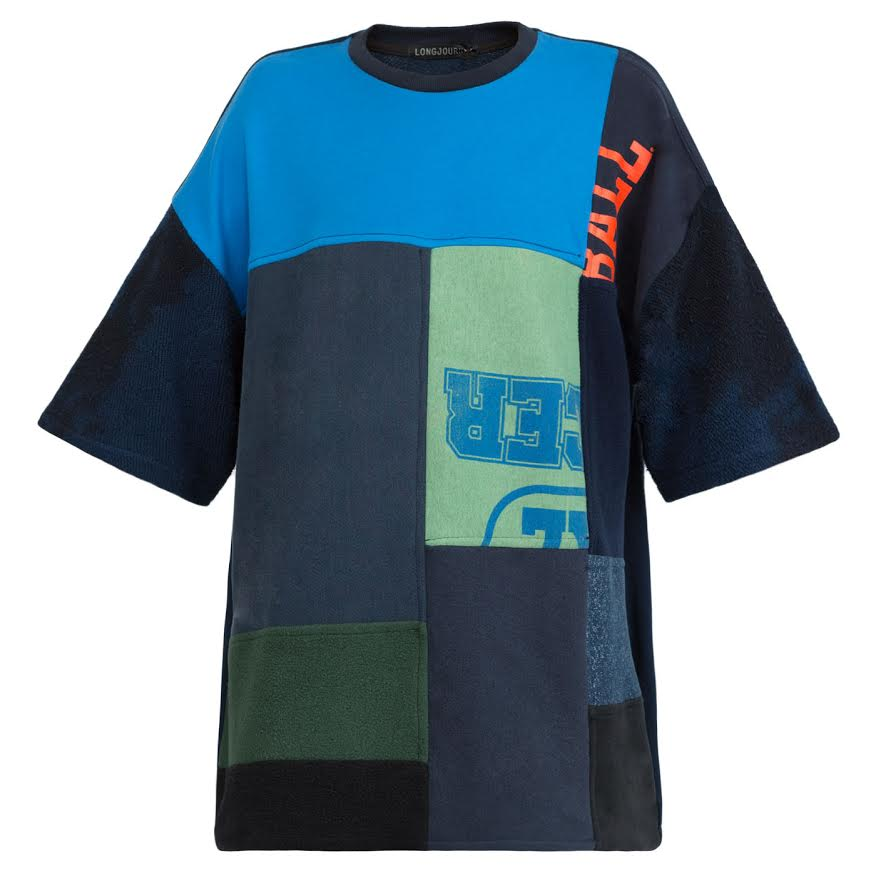 Long Journey Baggy T-Shirt (Navy Patchwork)