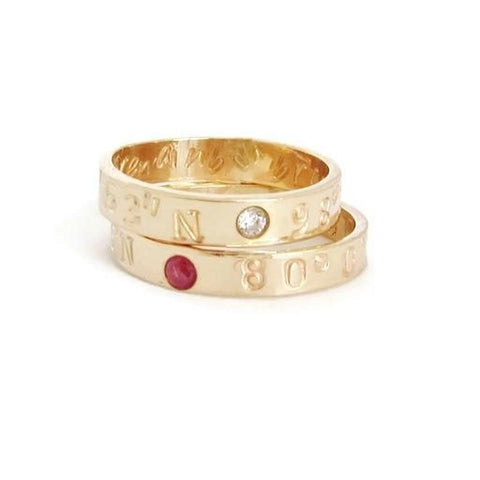 Coordinate Stacking Rings with Birthstones