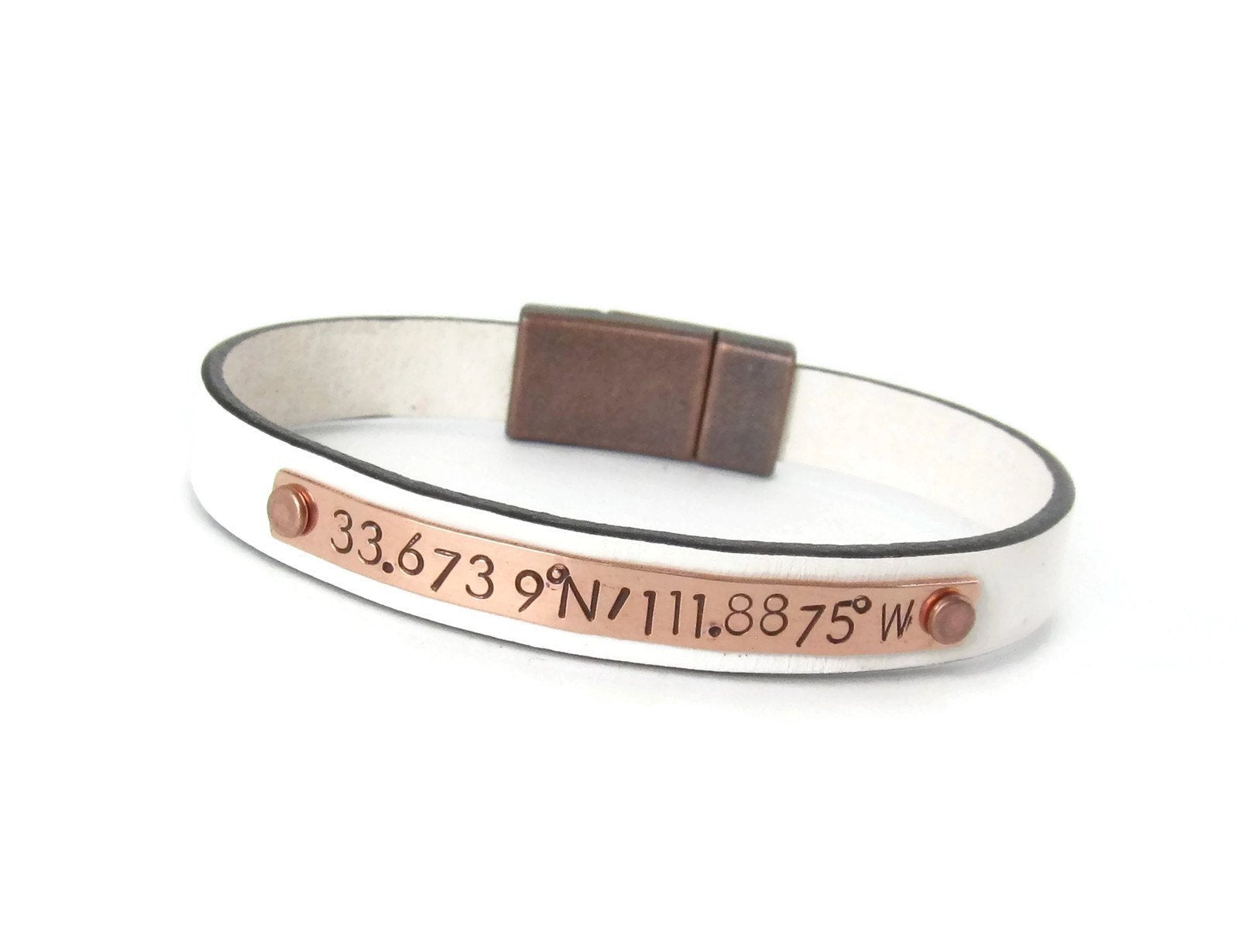 women sterling lat s il coordinates long bracelet krke personalized womens gps leather fullxfull listing silver custom