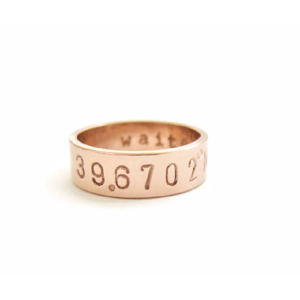GPS Ring, Lat Long, Location Ring, GPS Coordinates-The Modern Bazaar