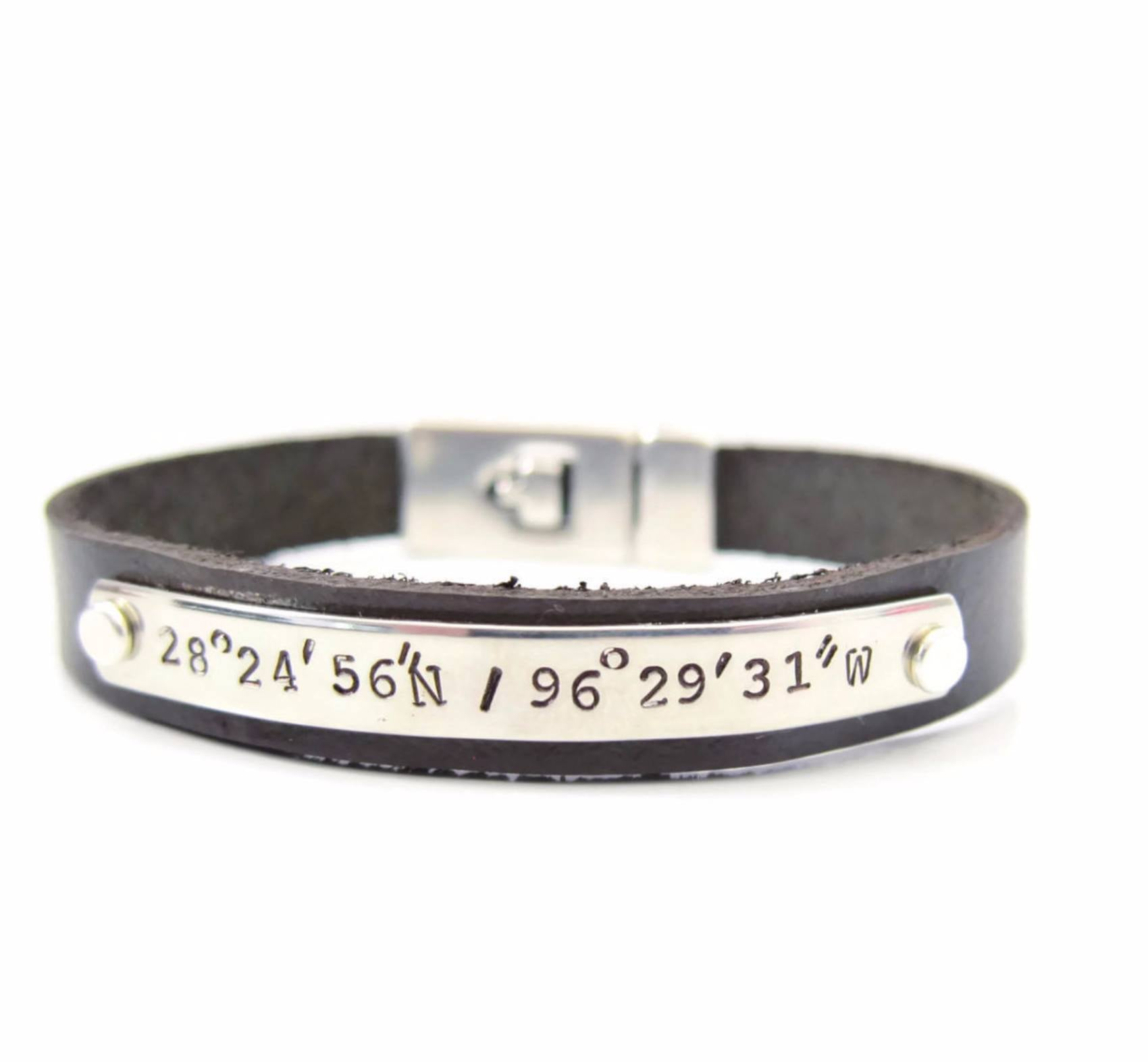 bracelet copy long personalized the modern custom lat coordinate bazaar products of silver leather