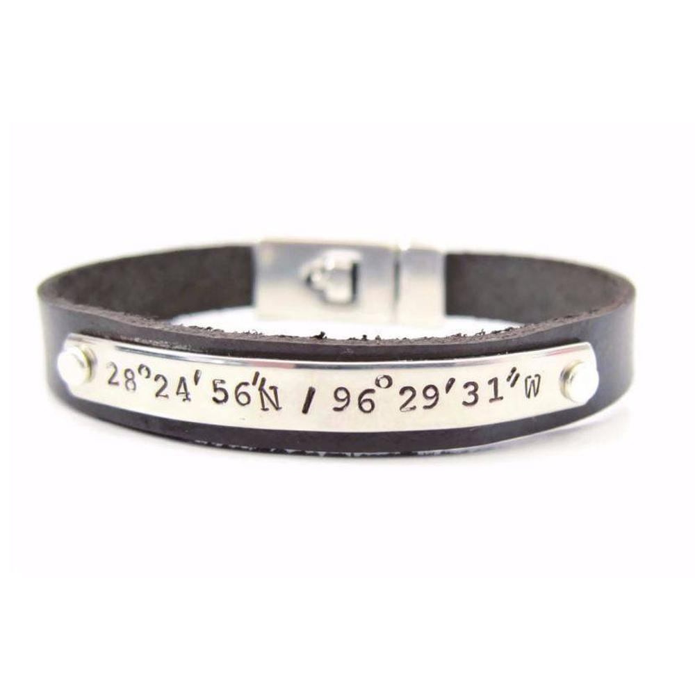 anniversary amazon bracelet latitude cuff longitude personalized gps com for custom men coordinates leather dp engraved coordinate