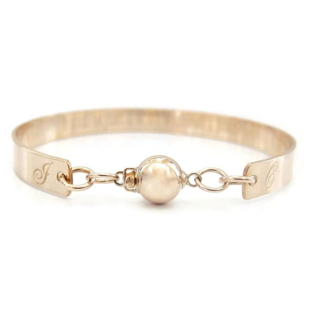 Personalized Gold Bracelet with Ball Clasp, Custom Engraved-The Modern Bazaar
