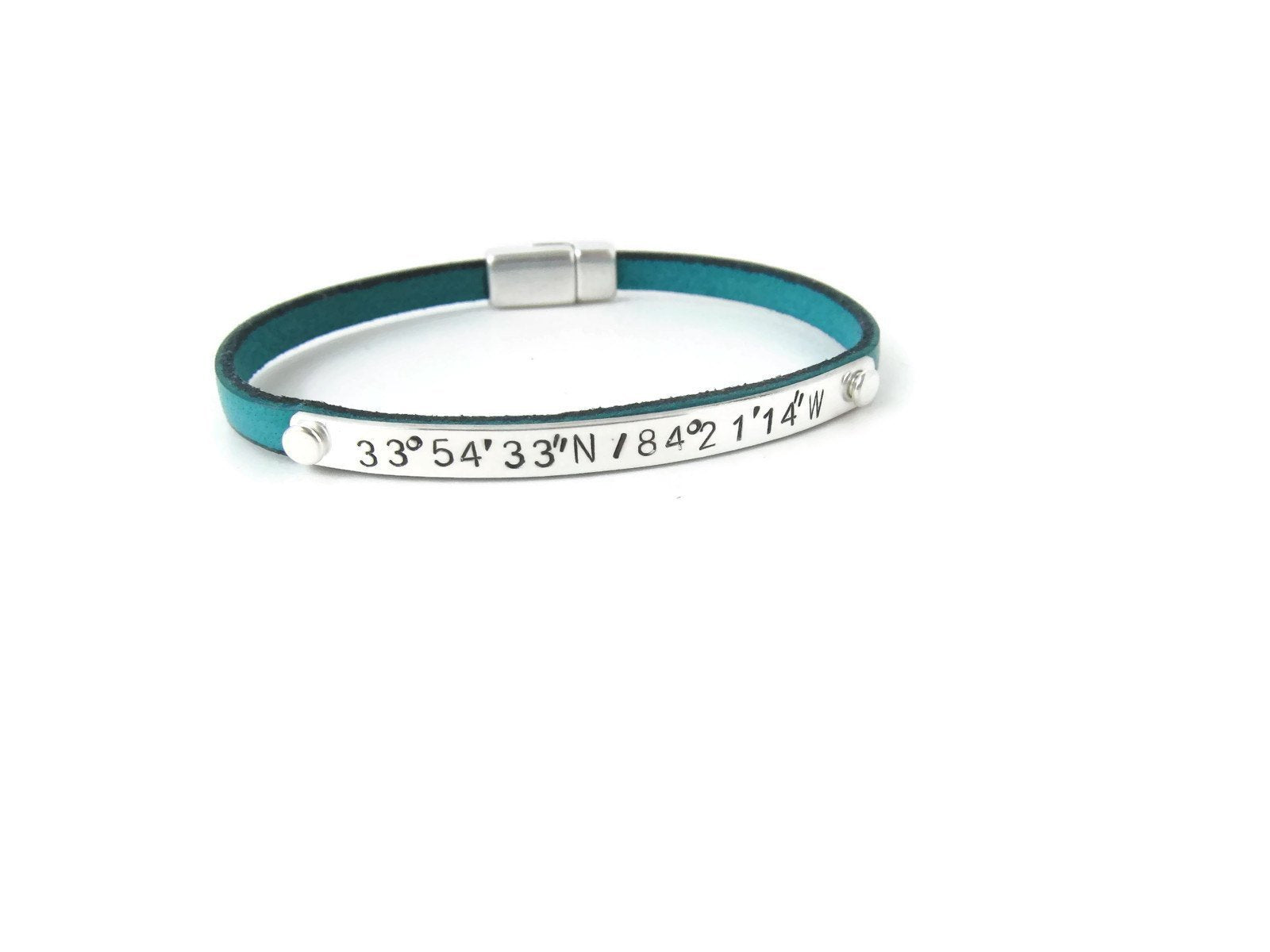 leather bracelet custom coordinates personalized coordinate img index